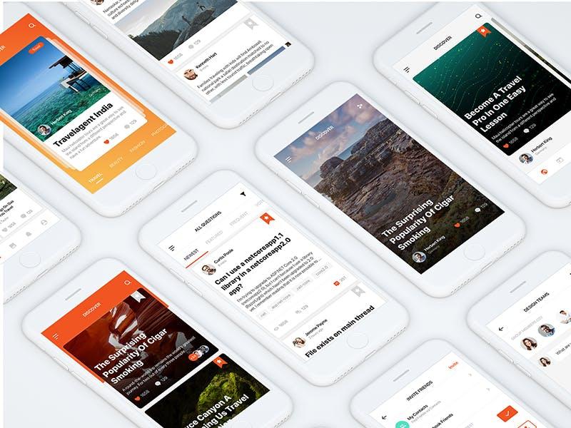 扁平化社交移动端应用APP  Social Mobile App UI Kit