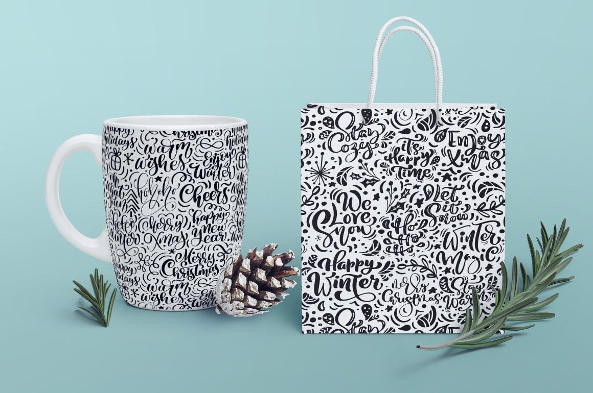创意手绘圣诞文字图案背景纹理Christmas lettering patterns
