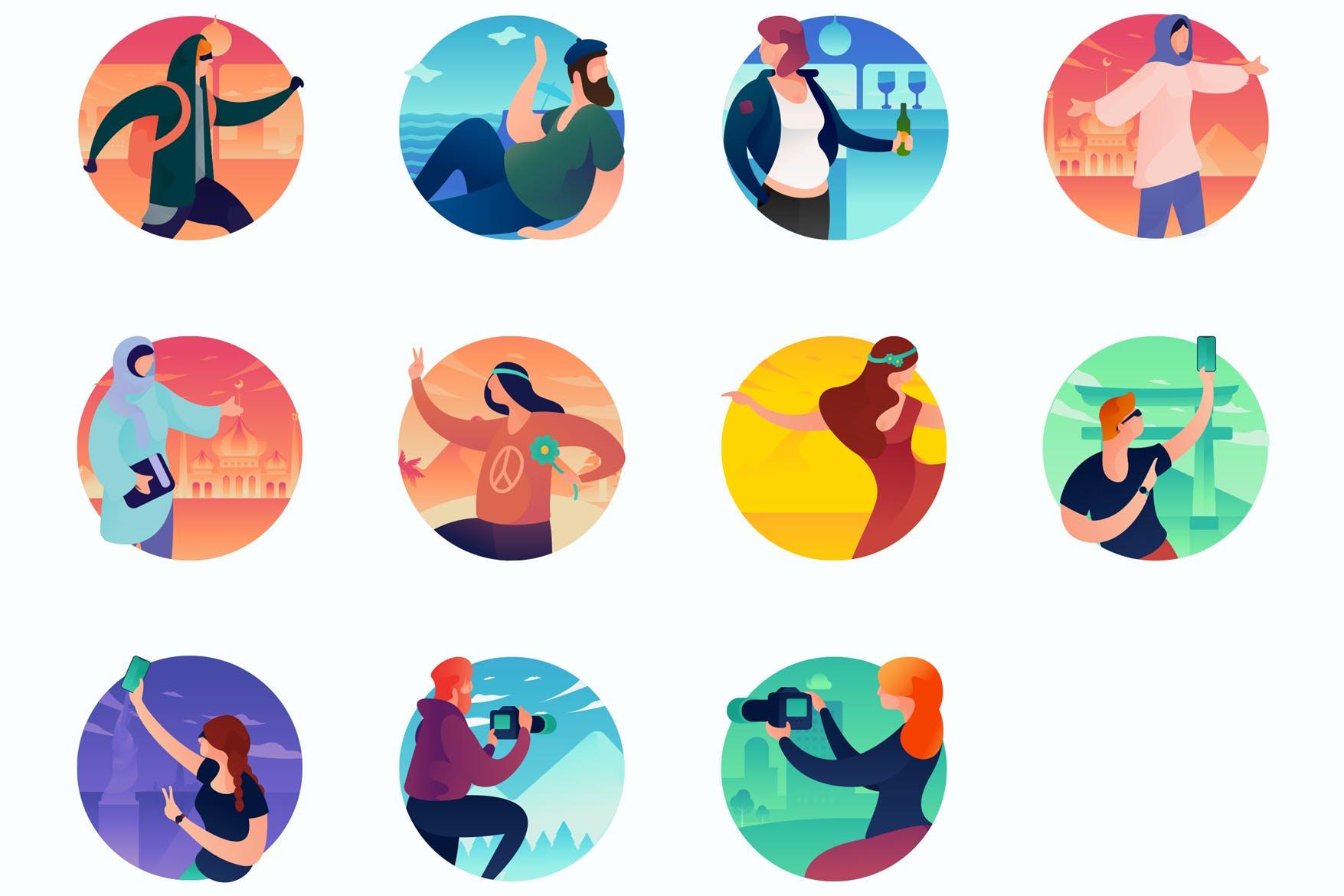 人物动态多场景插画素材下载Activities Curvy People Concept Illustrations
