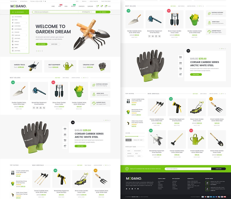 WEB端电商购物网站PSD模版 Megano - Online Store PSD Template