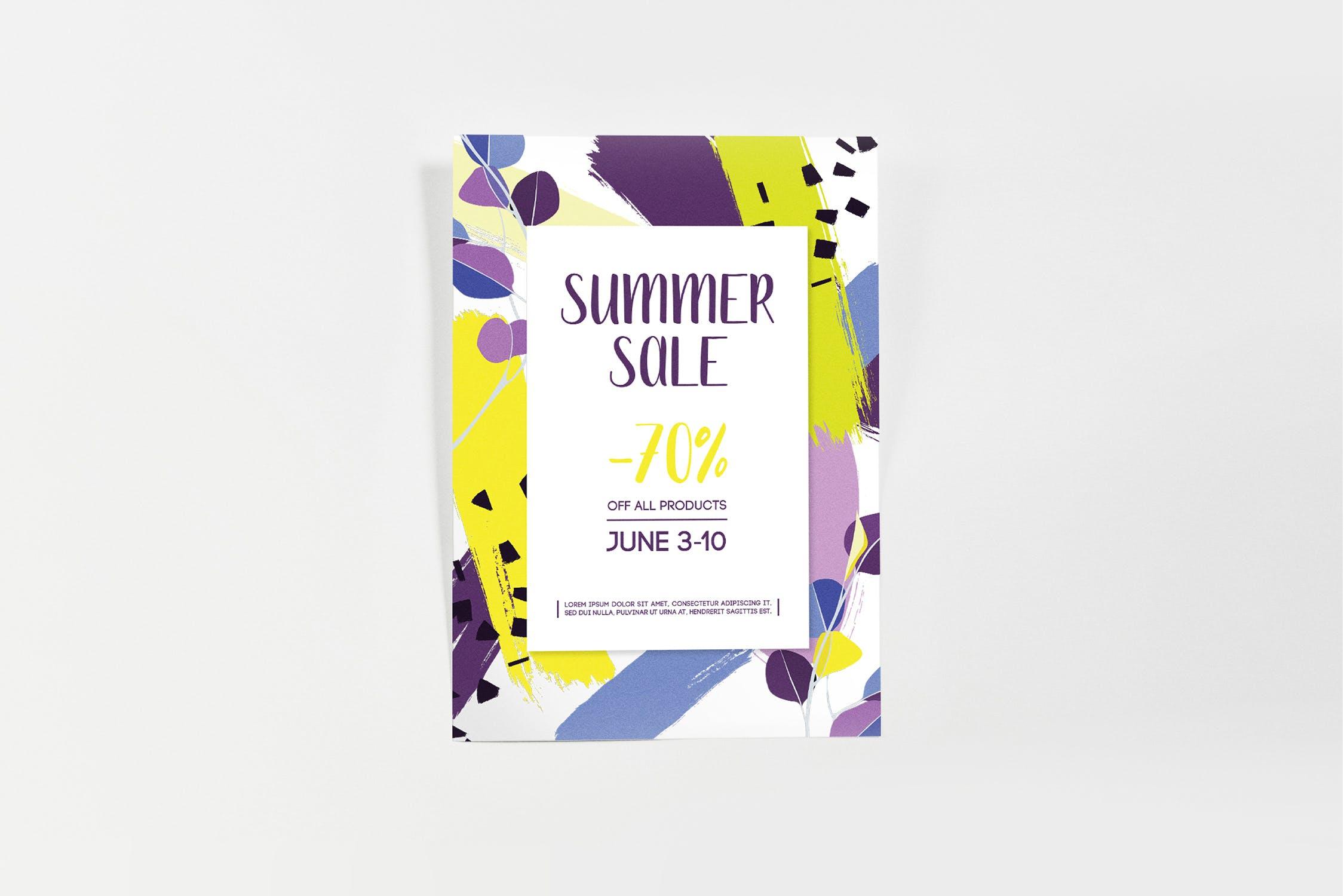 涂鸦纹理夏季海报模板Summer Sale Poster Template