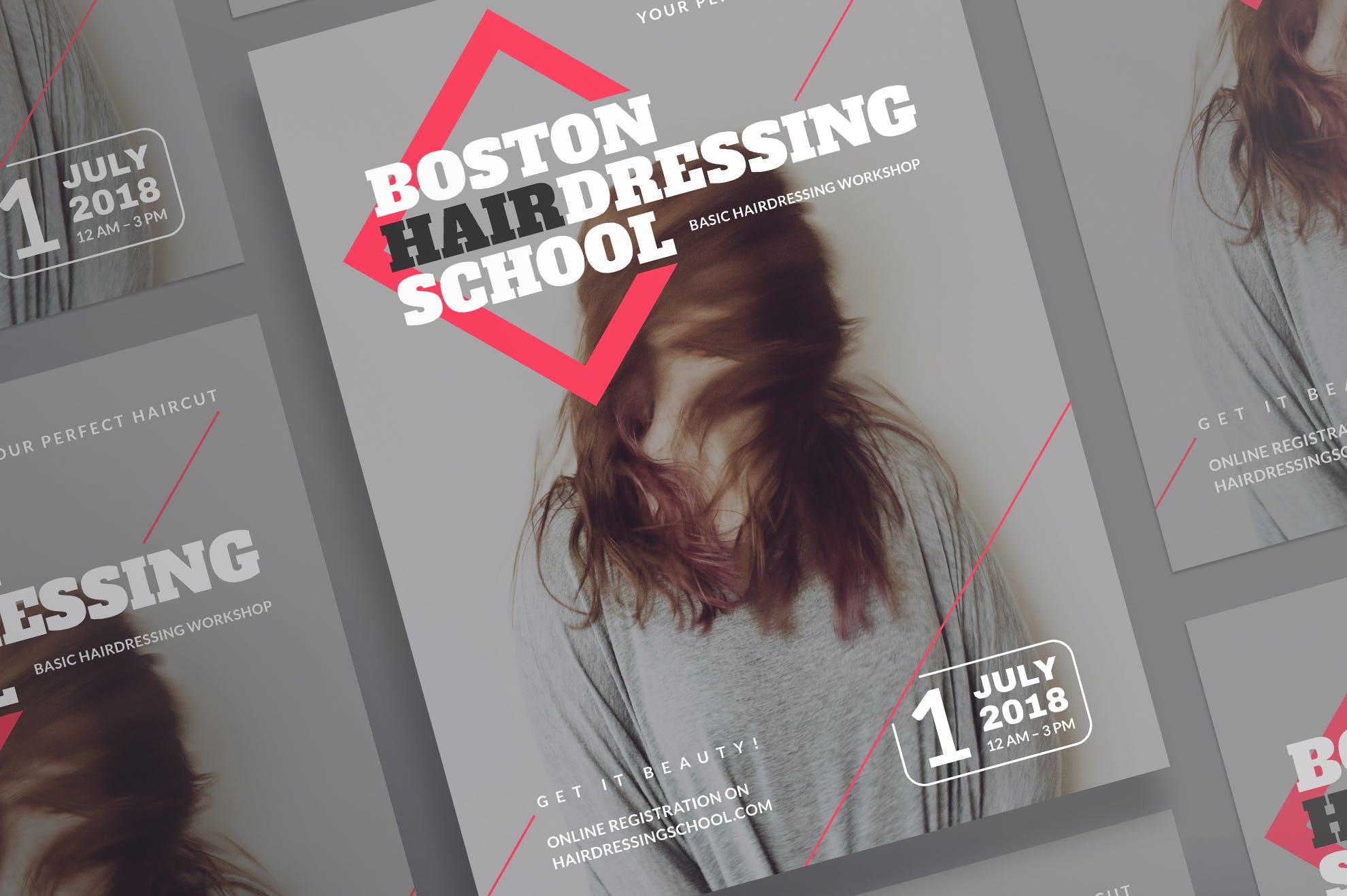 美发学校传单和海报模板Hairdressing School Flyer and Poster Template