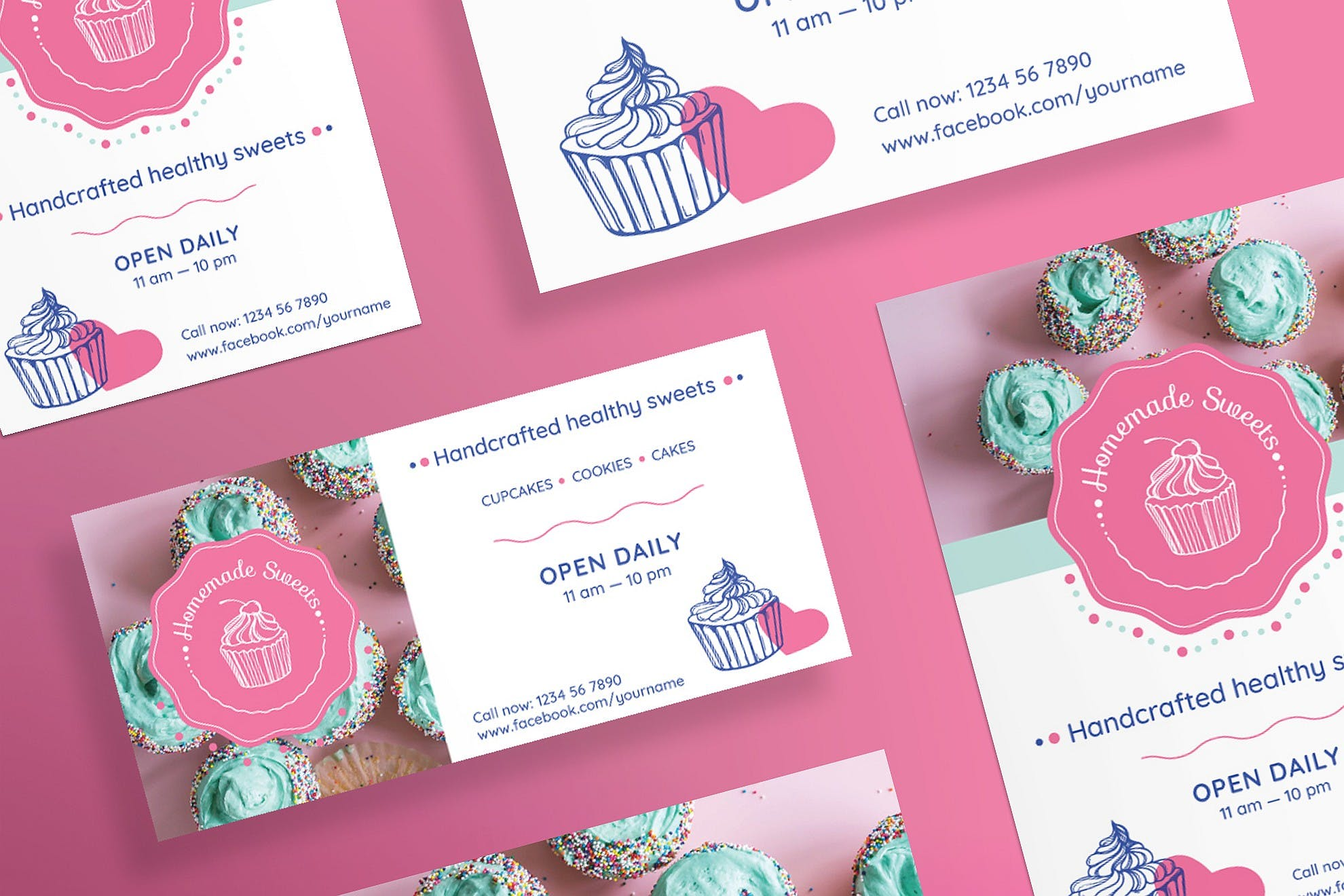 手工制作的糖果传单和海报模板Handcrafted Sweets Flyer and Poster Template