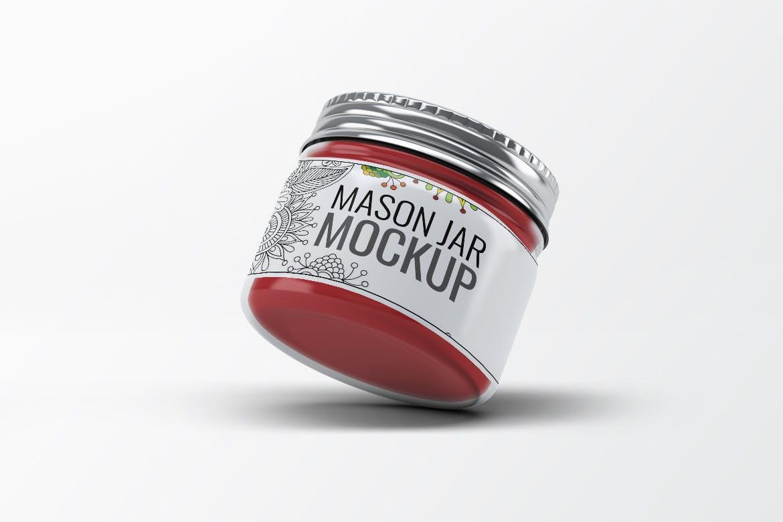 精品化妆品玻璃瓶样机多视角样机素材模板展示Mason Jar Mock-Up V.3