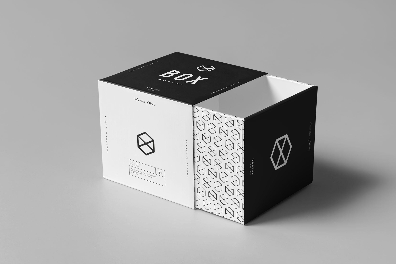 精致方形包装盒模板样机素材展示下载Box Mock-up