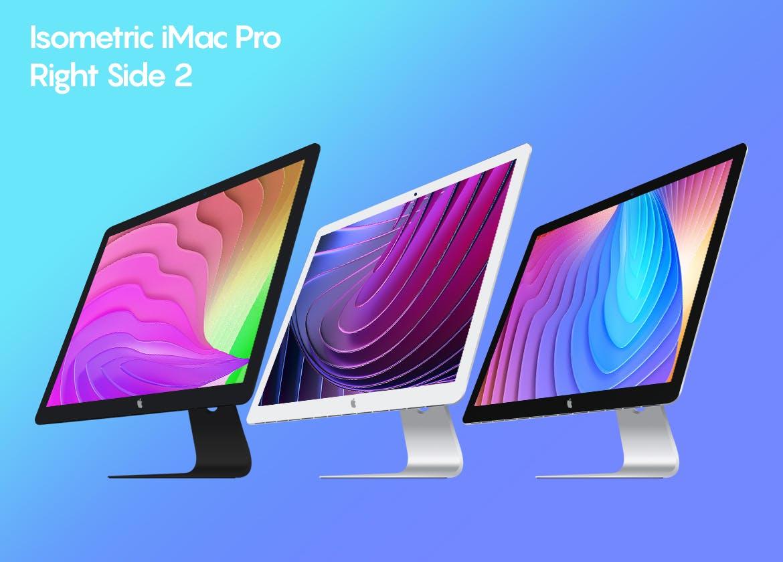 iMac概念版台式电脑素材模板样机展示效果Isometric iMac Pro Mockup