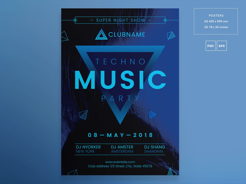 音乐演唱会活动宣传海报模板展示素材Music Party Flyer and Poster Template Gr68sw