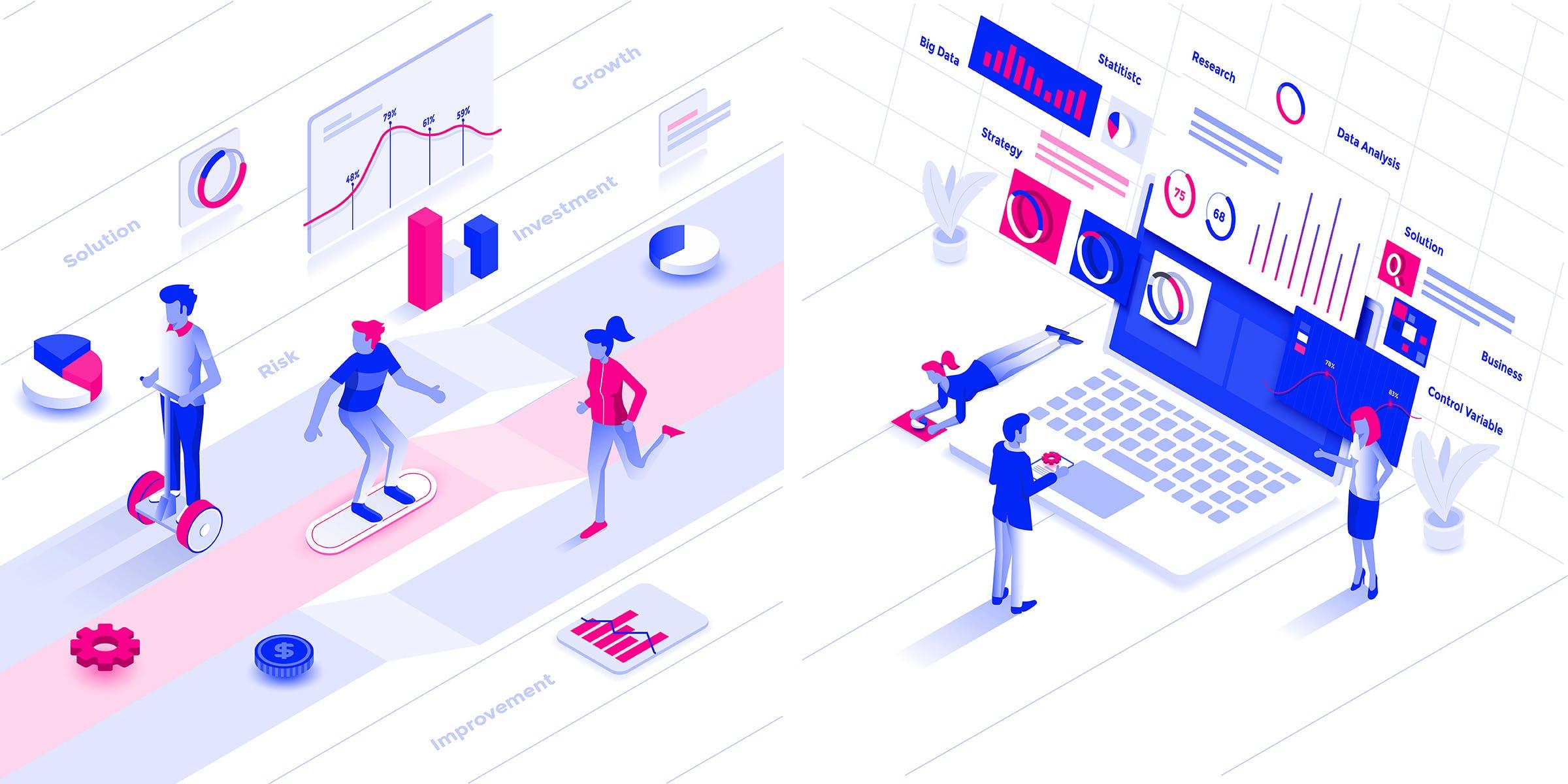 2.5D工作汇报场景插画设计业务分析下载Modern flat design isometric illustration kit