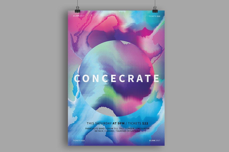 水彩纹理海报模板样机素材模板Concecrate Poster / Flyer