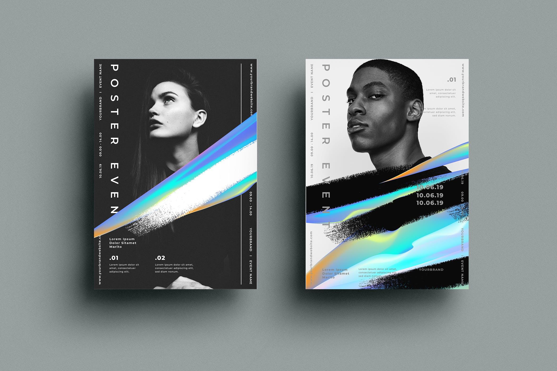 创意海报设计水墨色彩纹理传单/海报模板展示SRTP - Poster Design.24