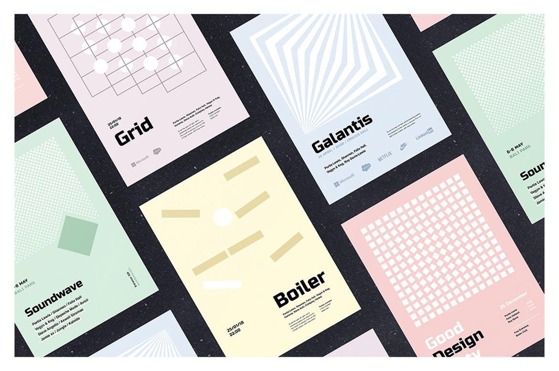 粉彩几何:极简主义海报模板素材Pastel Geometry: Minimalistic Poster