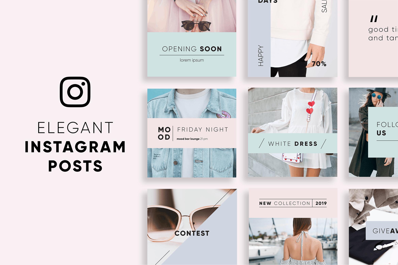 WEB端简约风格电商服装购物网站PSD模版 Elegant_Instagram_Posts_Template