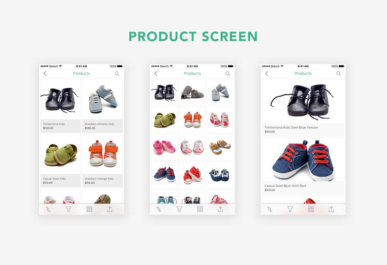 儿童垂直电商购物行业小孩服装APP Kidos Kids Clothing e-Commerce Sketch