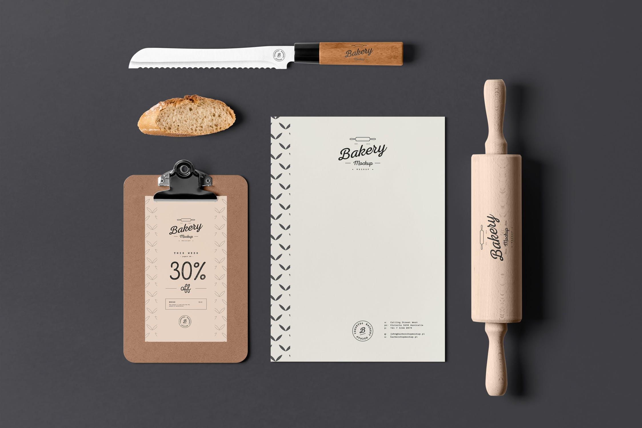 高端精致面包店品牌样机素材模板下载Bakery Branding Mock-up
