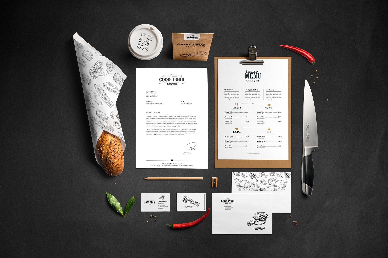 美食餐饮类品牌视觉识别系统模板素材样机下载Restaurant Food Mockup