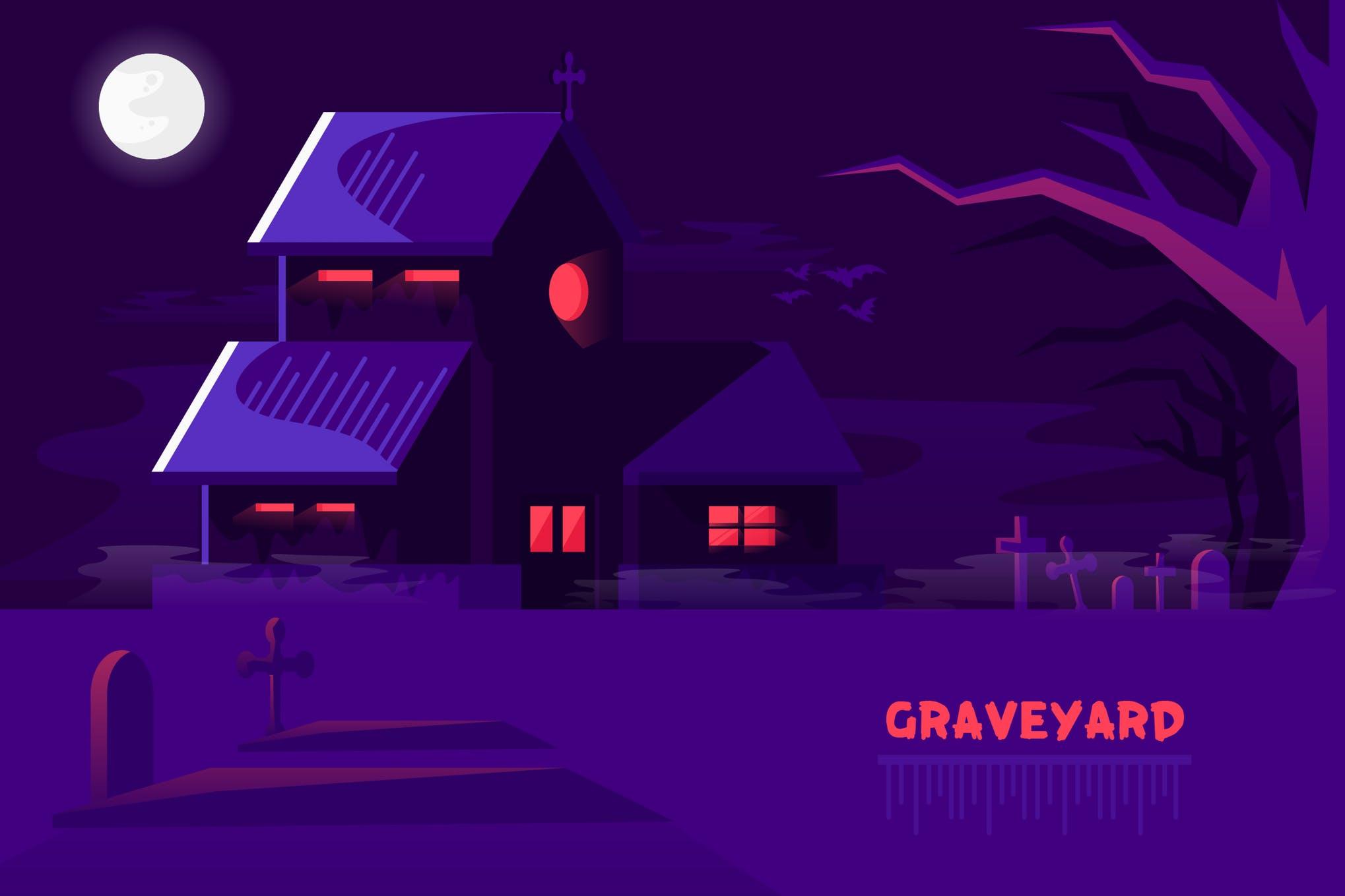 矢量风景与建筑插画模板设计素材下载GraveYard - Vector Landscape & Building
