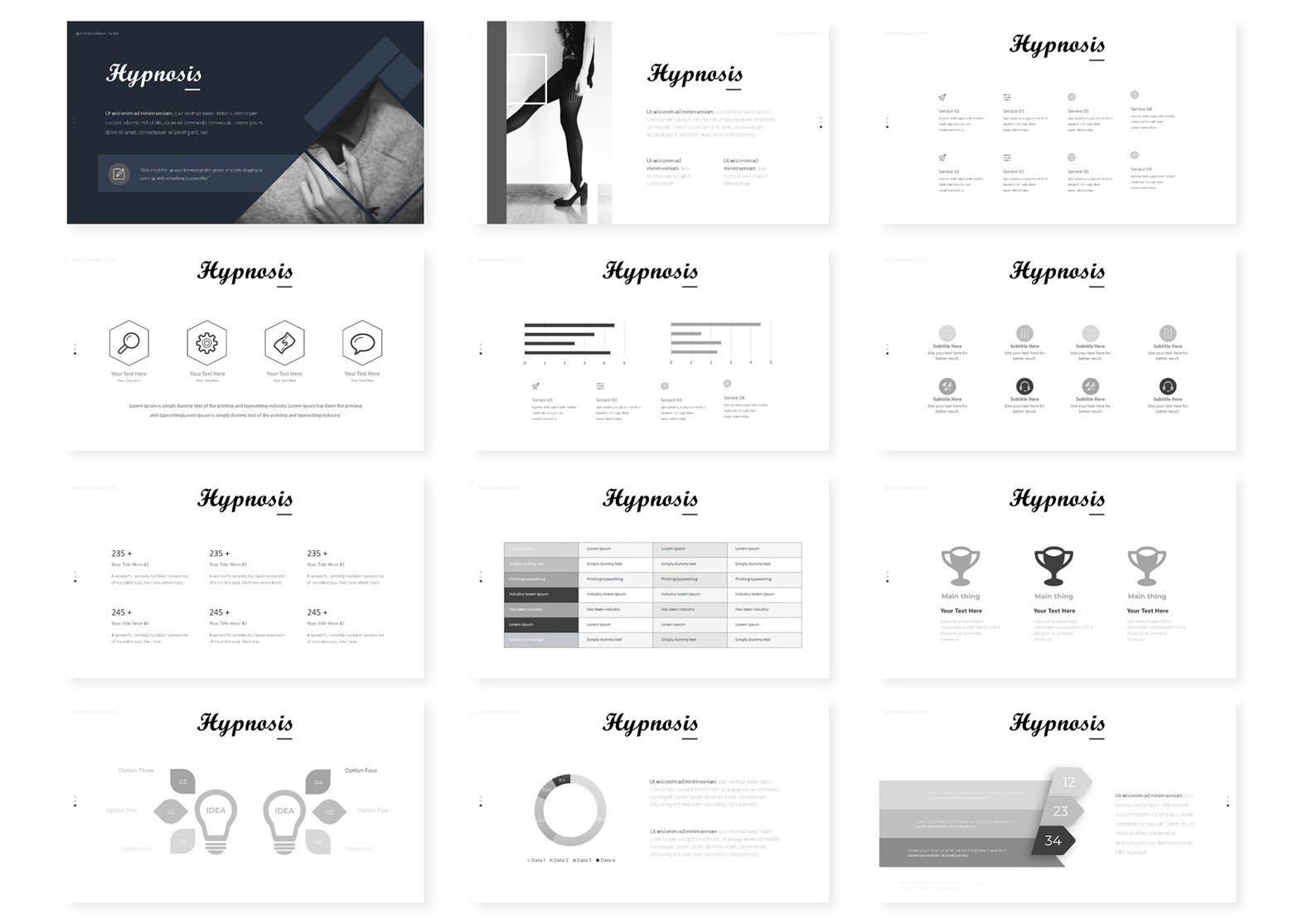 欧美现代时尚风格PPT模版  Hypnosis - Powerpoint Template