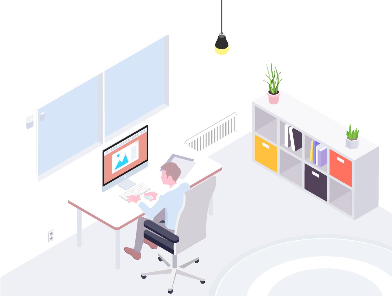 2.5D家居生活智能居家创意场景插画素材 Smartthings Isometric