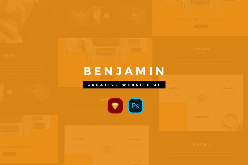 欧美时尚现代创意网站UI工具包 Benjamin Creative Website UI Kit