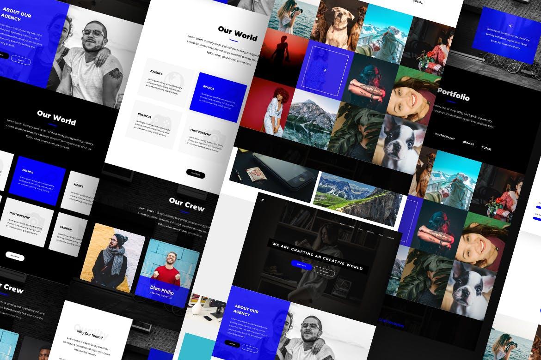 欧美现代风格蓝色社交软件官方网站 Futura Creative Website UI Kit
