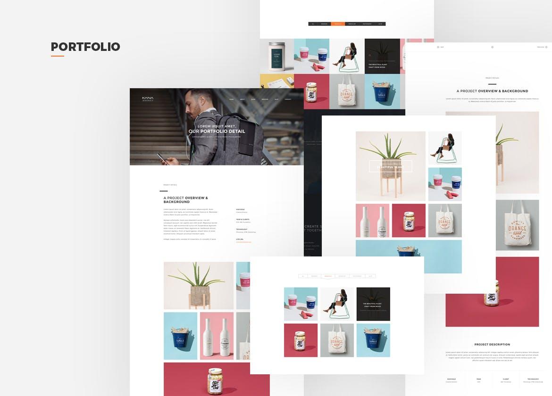 WEB端欧美现代简约风格PSD模版 Kana - Creative Agency Psd Template