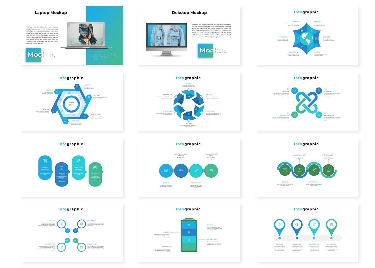欧美时尚现代风格数据图表PPT模版 Troy - Powerpoint Template