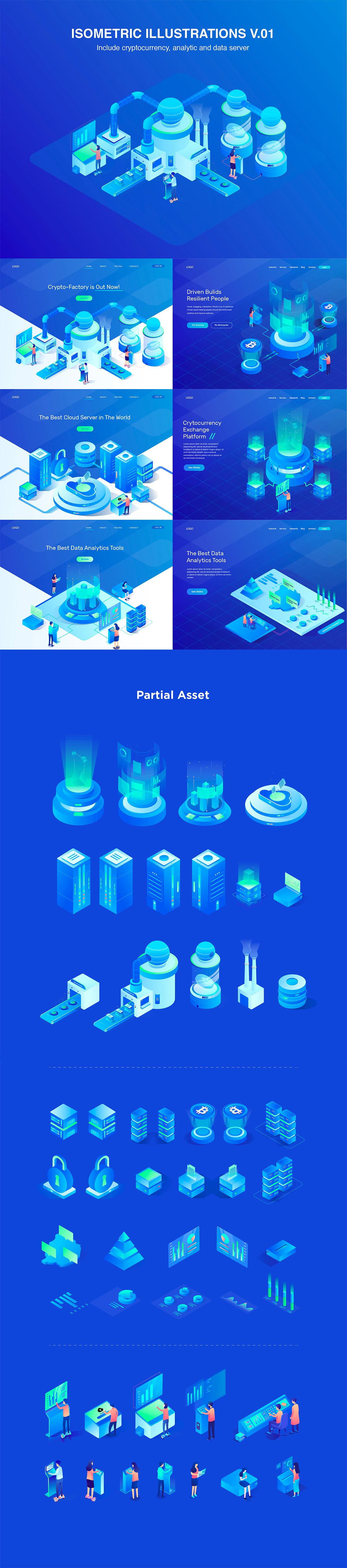 2.5D创意插画云服务技术3D概念素材 Isometric Illustrations