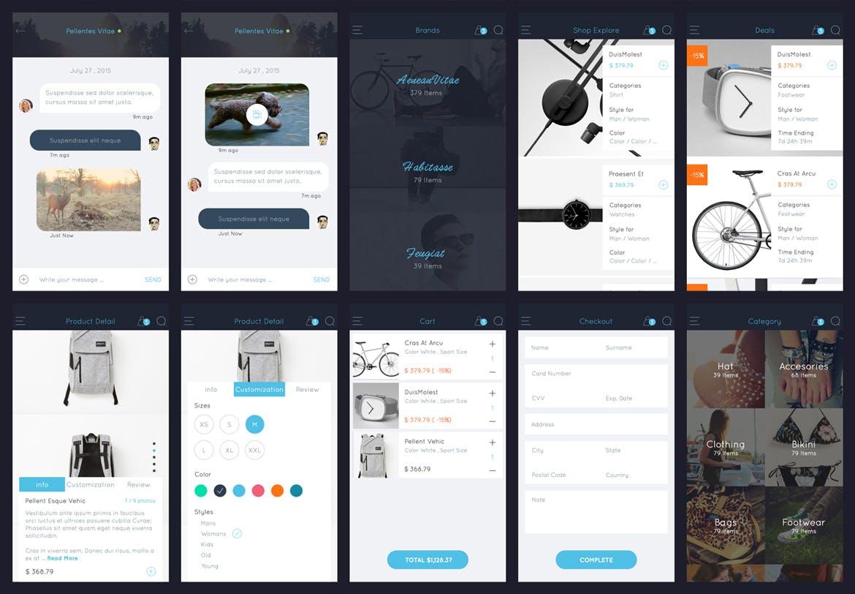 扁平化简约风格电商购物APP AB Part 1 - Sketch Mobile UI Kit