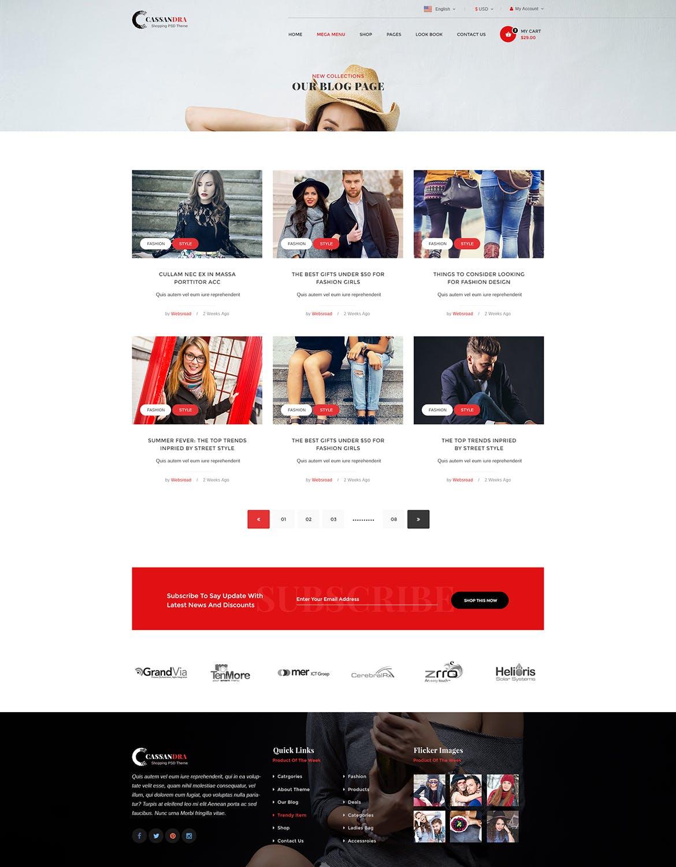 WEB端电商服装购物网站PSD模版 Cassandra - Fashion Shop 3 e-commerce PSD Template