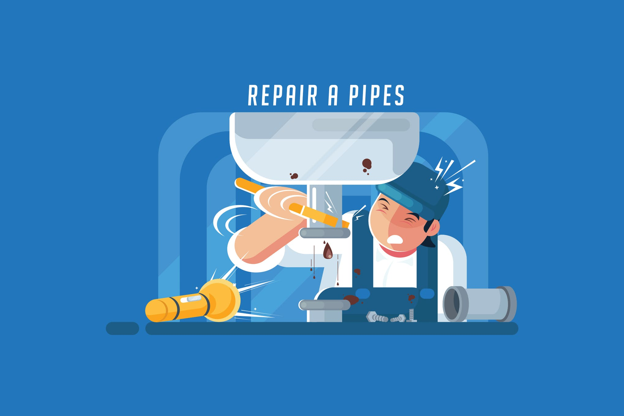 维修场景创意插画设计素材下载Repair a Pipes - Vector Activity