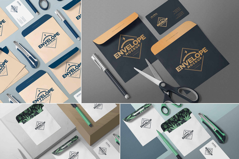 精致等距信封样机品牌VI样机素材Isometric Envelope Mockups