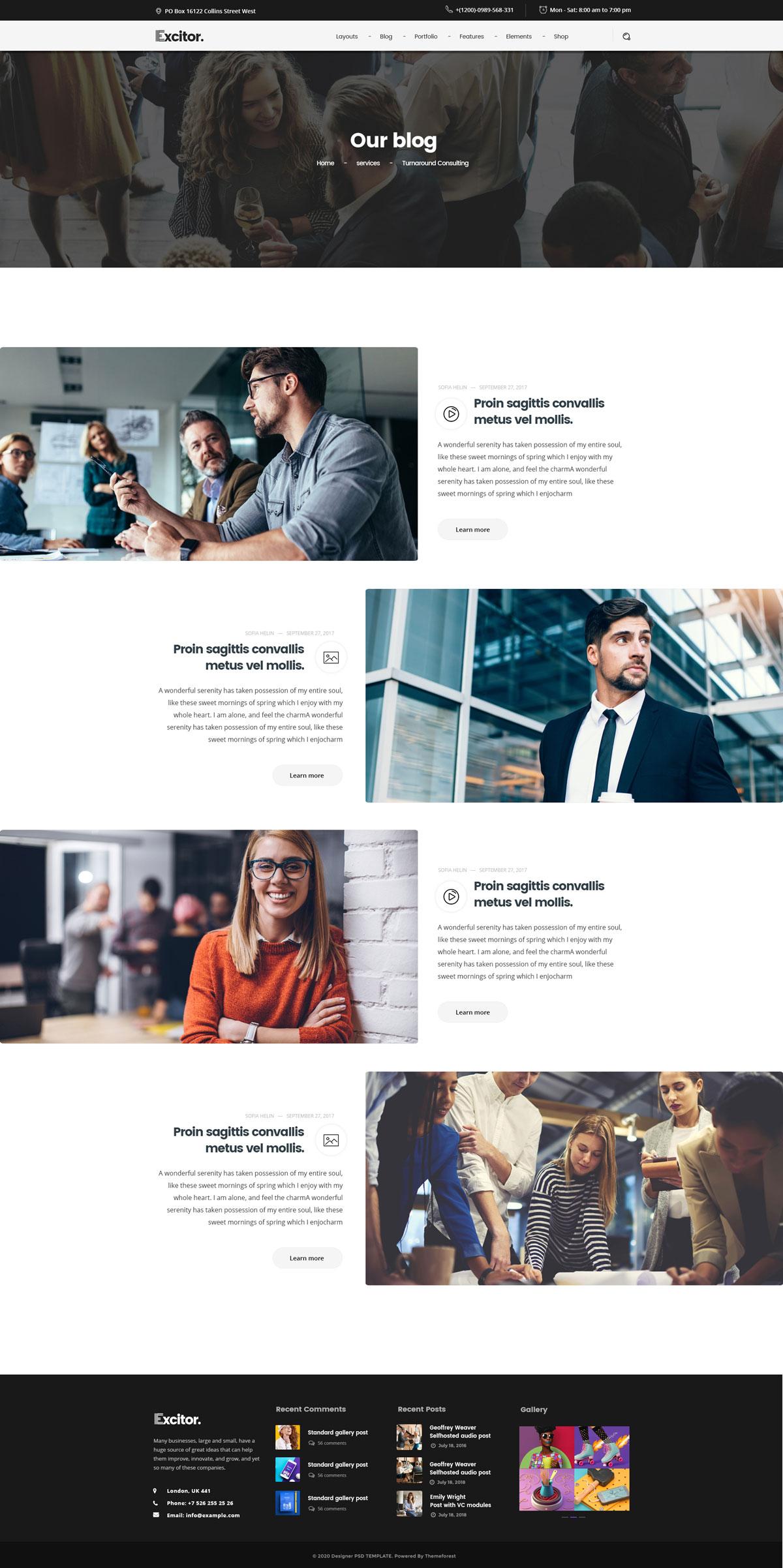 WEB端创意时尚现代商务服务企业网站PSD模版 Multipurpose02 Business, Portfolio, Agencies Website