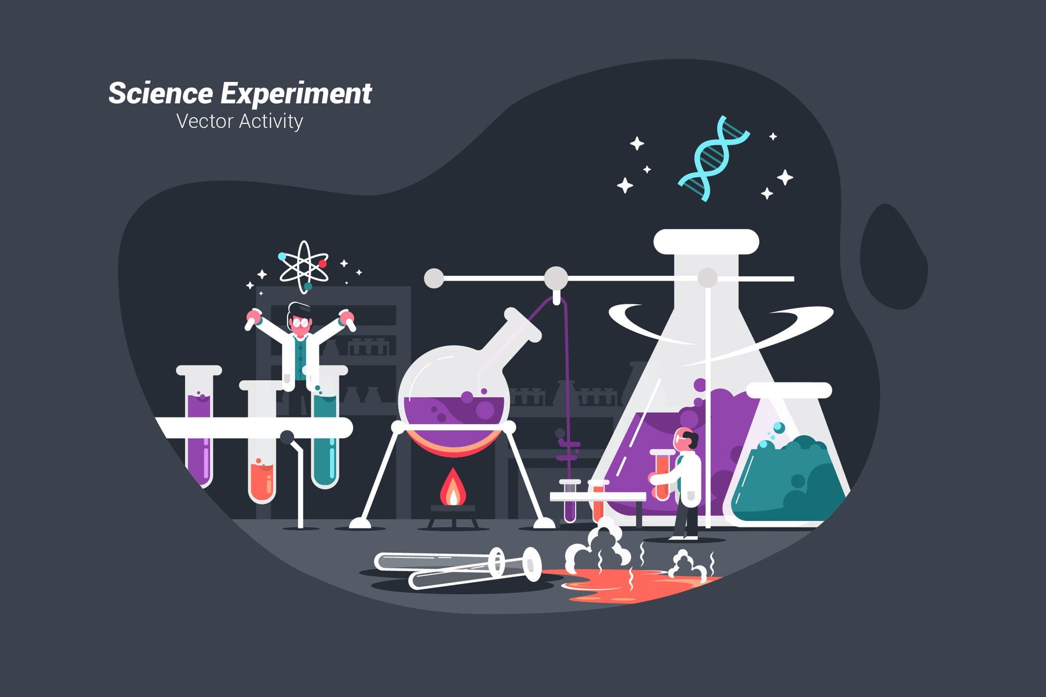 科学时限创意矢量插画素材下载Science Experiment - Vector Illustration
