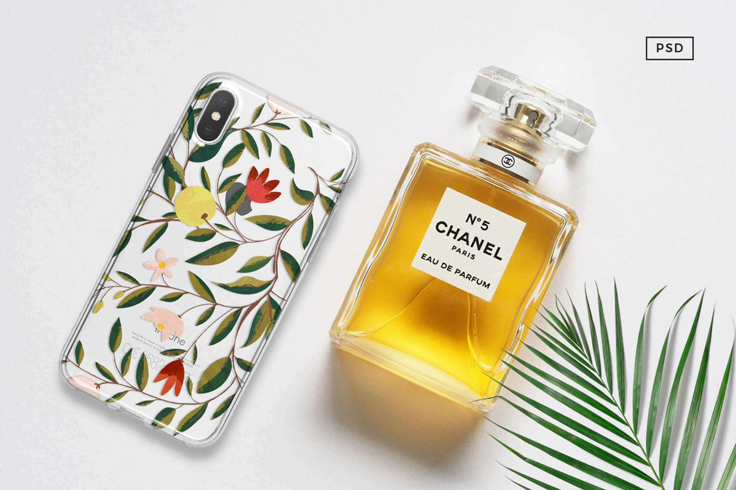 iPhone X样机香奈儿香水瓶子iPhone X Mock Up With Chanel Bottle