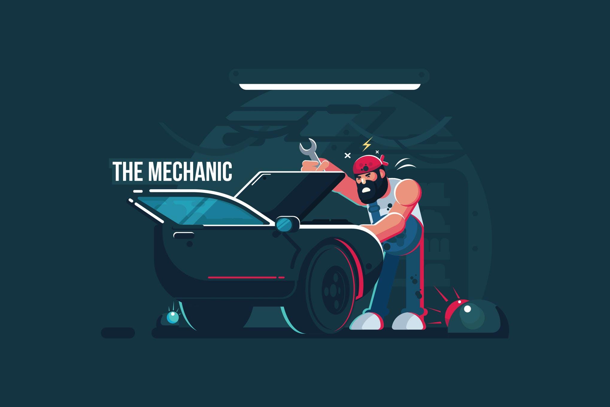 维修工场景创意插画素材下载The Mechanic - Vector Activity