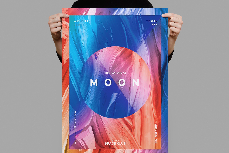 素材拼图展示 月球传单/海报模板Moon Flyer / Poster Template