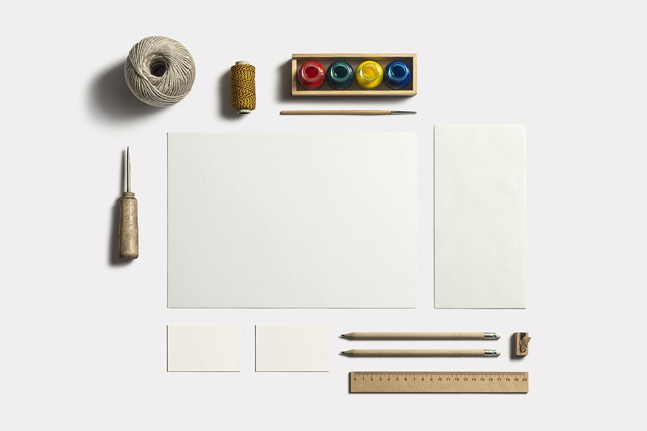 企业办公品牌识别系统模板展示样机素材下载Art & Craft Stationery Branding Mockup