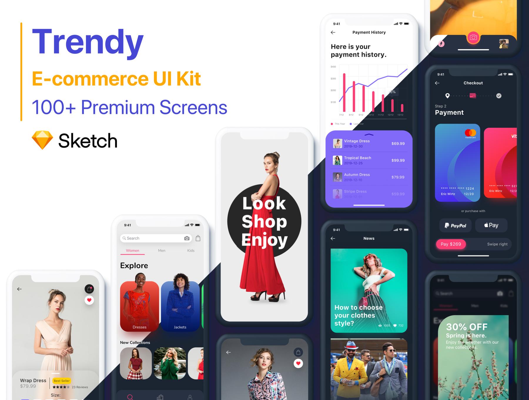 高端时尚电商APP UI KIT 套装 iOS Ui ui设计app app界面设计下载[Sketch] Trendy E-commerce UI Kit