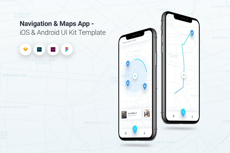 时尚高端简约导航和地图App iOS和Android UI KITS  Navigation & Maps iOS & Android UI Kit Template by PanoplyStore
