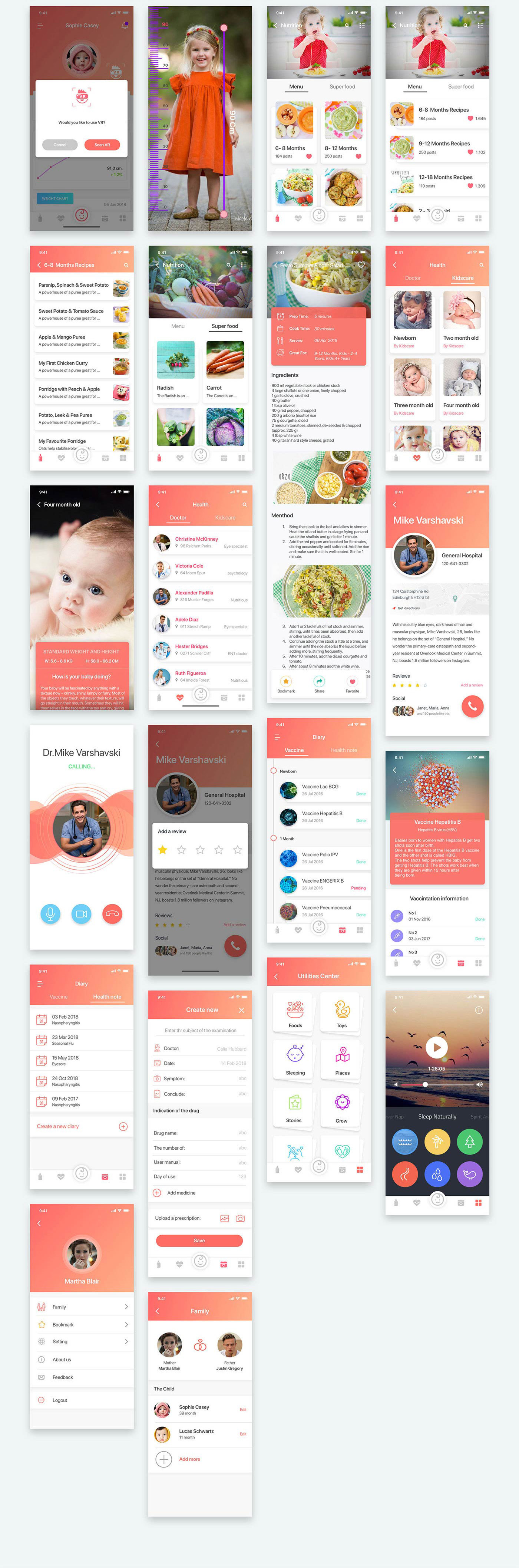 可爱的儿童管理APP宝妈APP UI设计 Kids Care UI Kit  20180905UI KITS[iPhone X,XD,Sketch] Kids Care UI Kit  20180905