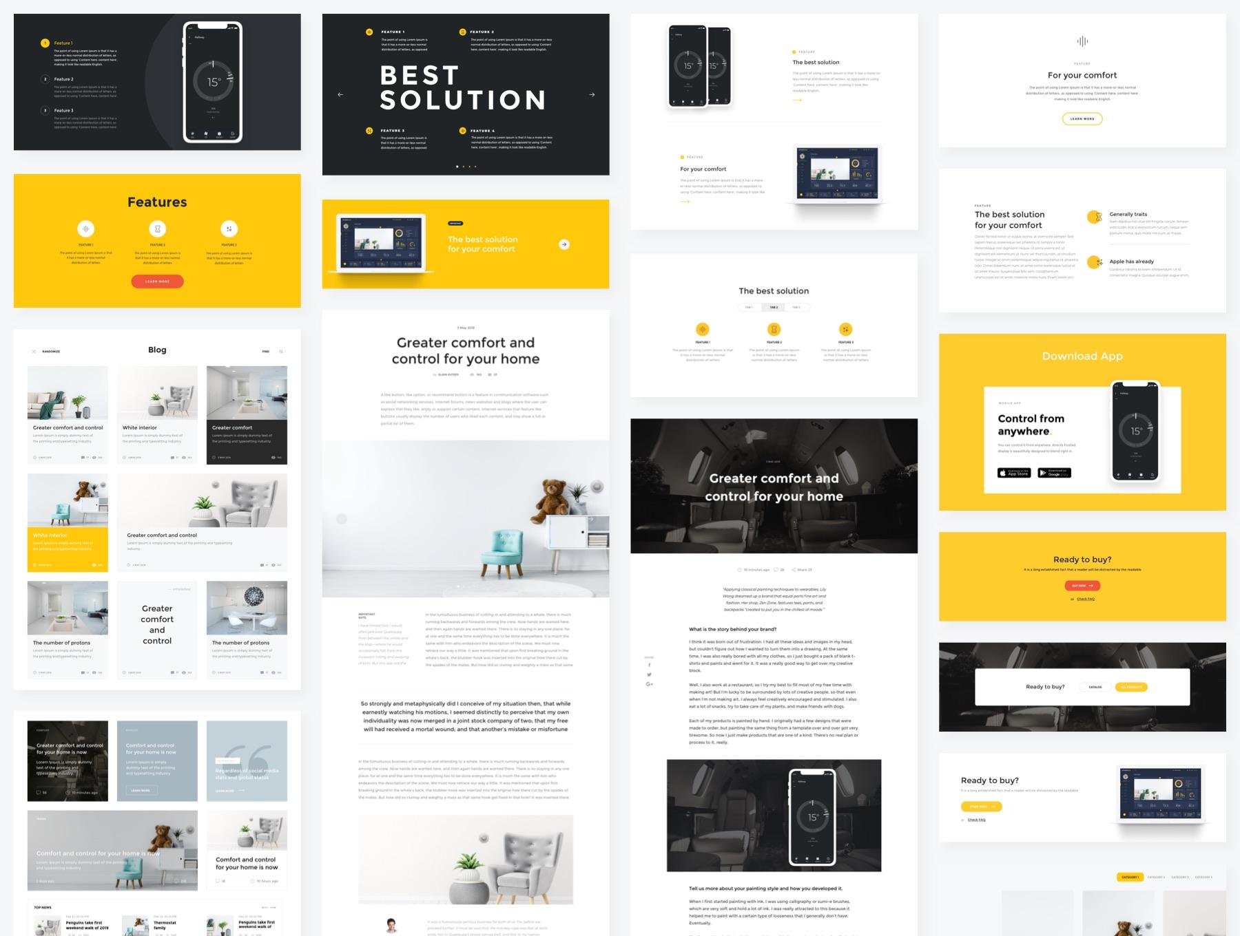 专业丰富的高端产品网页模板+组件套装element ui国外ui网站ui [Sketch]  SimpleBee Layouts and Components