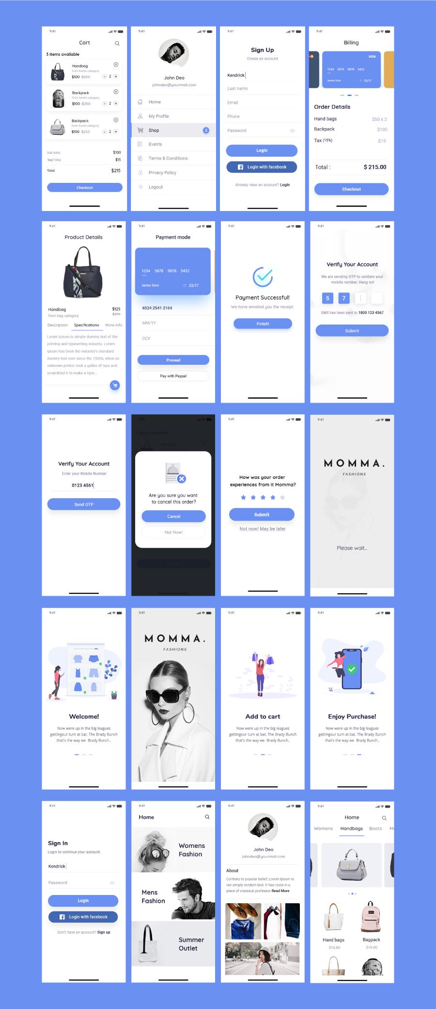 在线商店移动应用工具包20独特屏幕电子商务套件 Momma Online Store Mobile App UI Kit