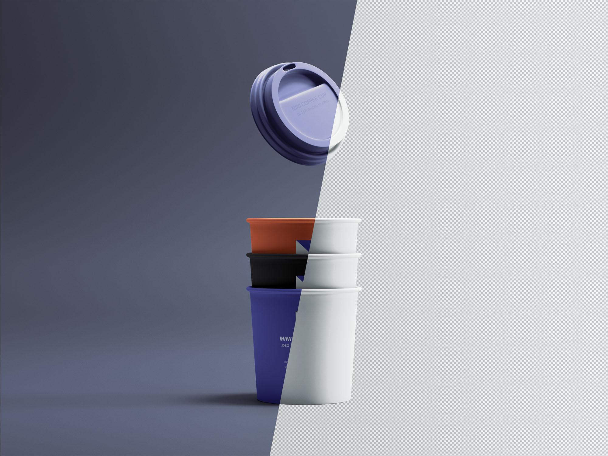 热饮咖啡杯样机素材模板下载Mini Coffee Cups Mockup