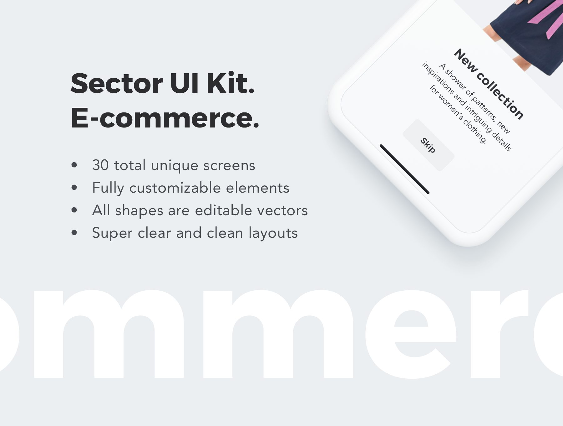 时尚服饰电商APP UI KIT套装 app设计iOS Ui[Sketch,XD] Sector UI Kit E commerce