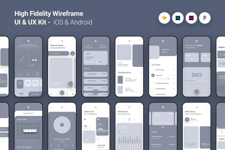 高品质的高保真线框UI UX套件iOS Android应用程序(兼容Sketch,Photoshop,Adobe Xd和Figma)High Fidelity Wireframe UI UX Kit by PanoplyStore