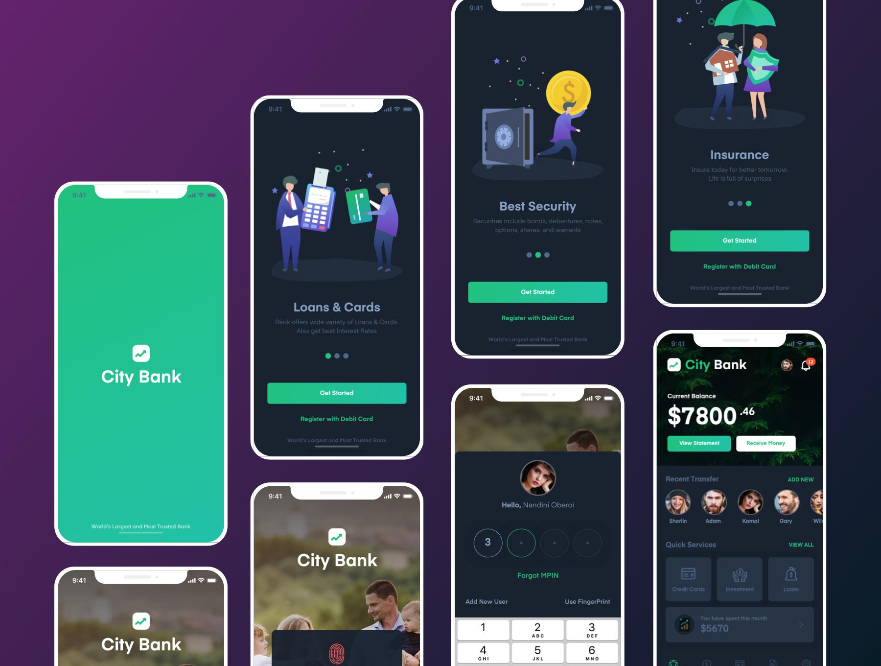 银行网页相关功能的金融 APP UI KIT 模板下载 [Sketch] City Bank Light and Dark App UI Kit