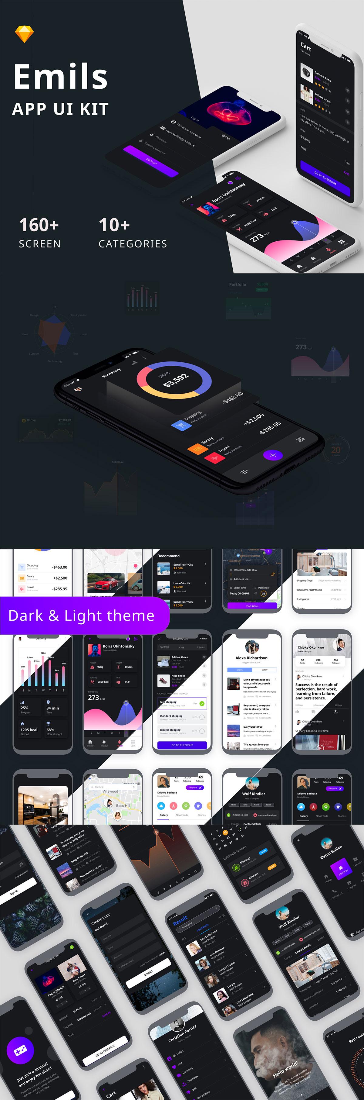 酷炫的 iPhone X 多功能时尚 APP UI KIT 套装模板下载 [Sketch] Emils Mobile UI Kit