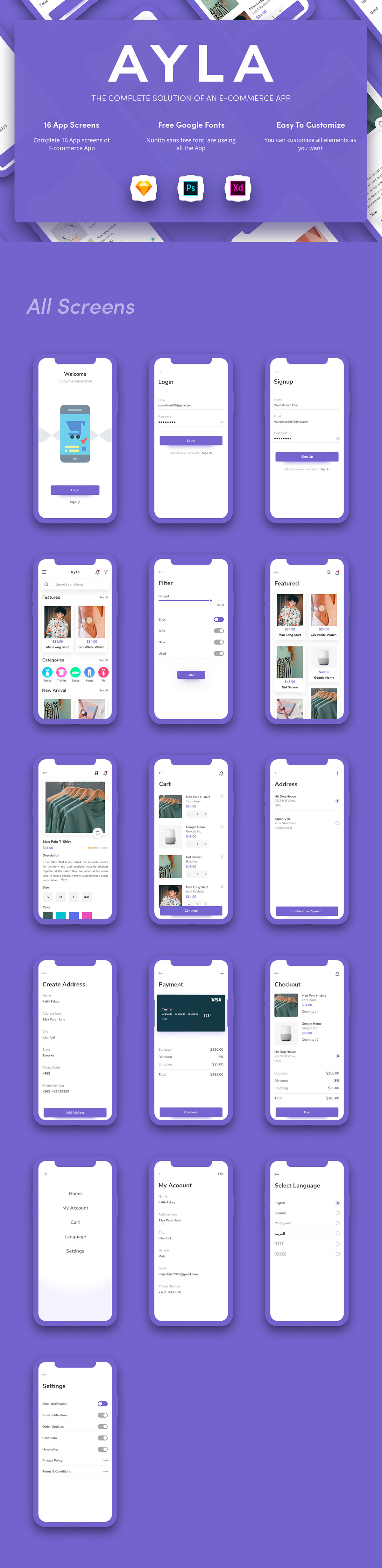 多功能时尚电商APP UI KITS [XD,PSD,Sketch] Ayla Ecommerce UI Kit