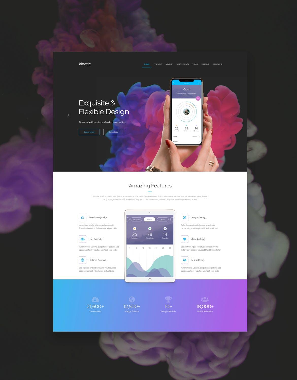 时尚高端多用途的适合APP营销网站设计模板UI KITS  kinetic-app-landing-page-psd-one-page-template