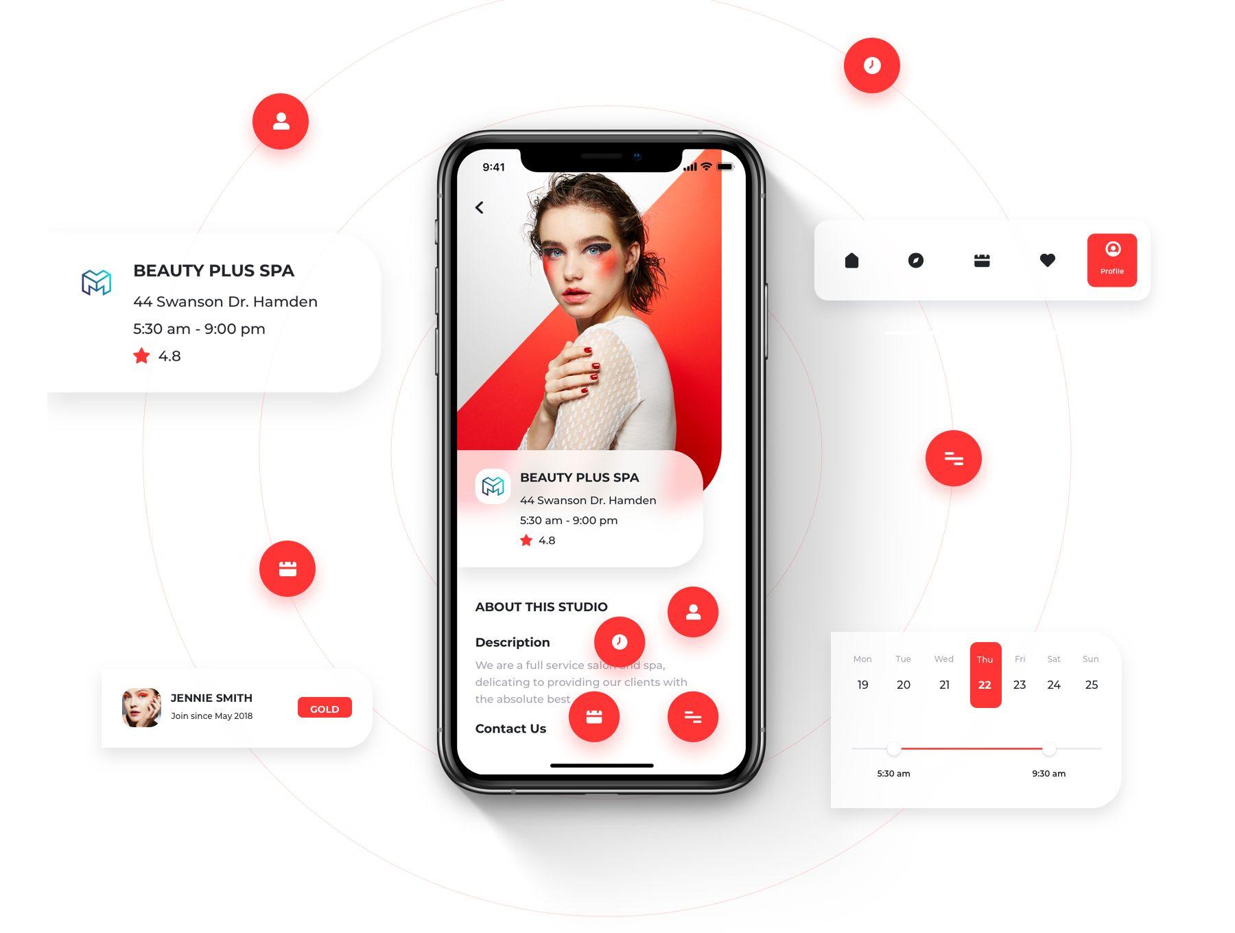时尚酷炫的健身美容相关的超级APP UI KIT套装 iOS Ui app设计 移动ui设计[Sketch,XD,Fig] Overrun - Fitness, Beauty & Events Booking